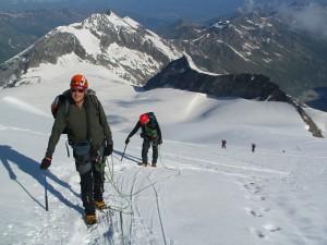 Stúpame po ľadovci Turtmanngletscher