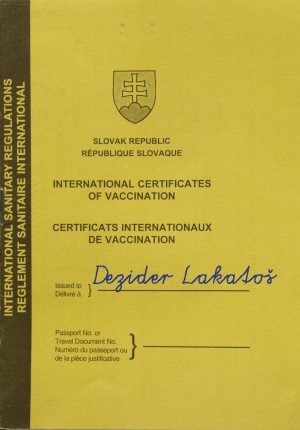 Očkovací preukaz námorníka 1. triedy Dezidera Lakatoša.