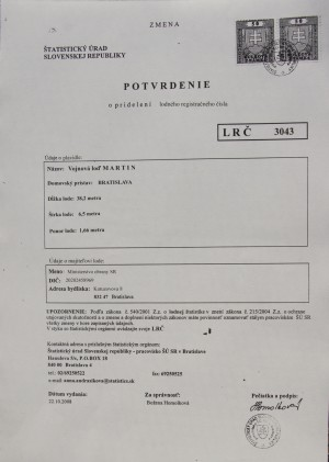Potvrdenie Štatistického úradu o pridelení Lodného registračného čísla bývalej výletnej lodi Martin.