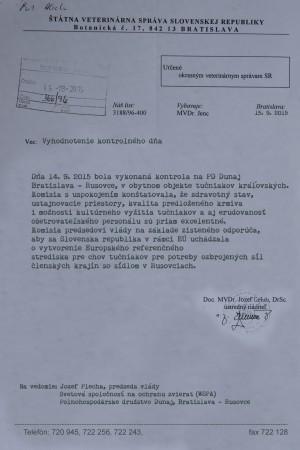 Vyhodnotenie kontrolného dňa na PD Dunaj Bratislava – Rusovce v chovnom objekte tučniakov kráľovských.