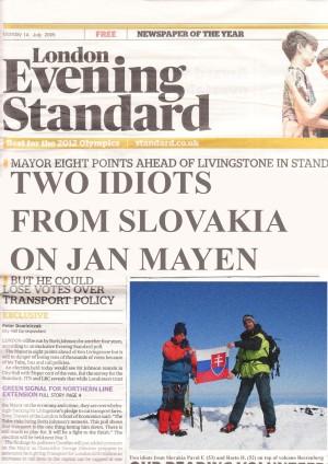Aj londýnsky večerník Evening Standard priniesol článok oslavujúci úspech slovenských cestovateľov na prvej strane!