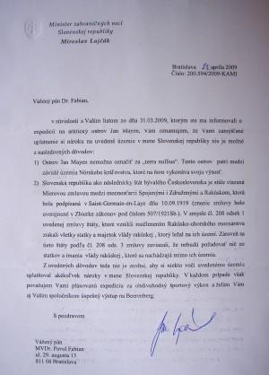 List ministra zahraničných vecí SR Miroslava Lajčáka, v ktorom vysvetľuje dôvody, na základe ktorých sa domnieva, že Slovensko si nemôže uplatňovať nároky na ostrov.