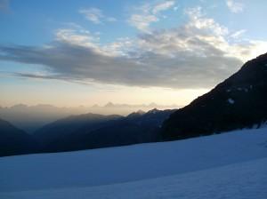 Ranné výhľady z ľadovca Turtmanngletscher